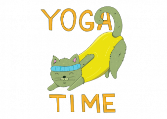Yoga time cute cat doing kitten sport t shirt printing design buy t shirt design