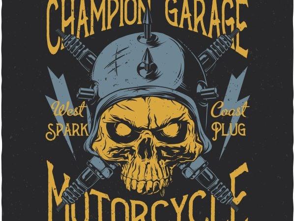Champion garage. Vector T-Shirt Design buy t shirt design