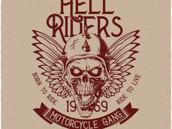 Hell Riders. Vector T-Shirt Design buy t shirt design