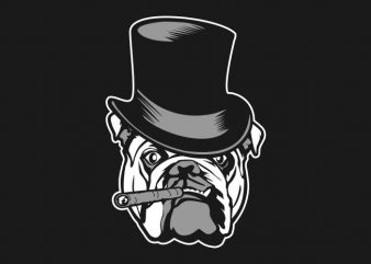 detective bulldog t shirt vector illustration