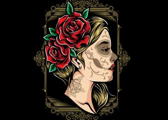 Girls and Roses t shirt design template