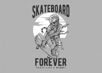 MUMMY SKATEBOARD t shirt designs for sale