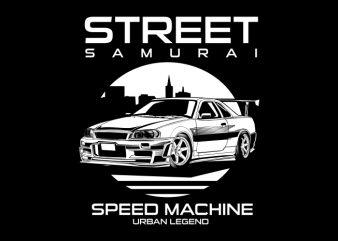 street samurai t shirt template vector