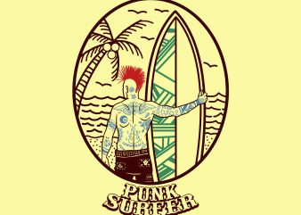 punk surfer tshirt design