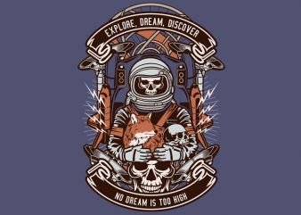 Astronaut Skull buy t shirt design