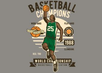 Basketball Champions t shirt template