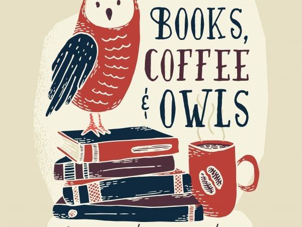 books coffee owl t shirt template
