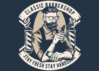 Classic Barber Shop t shirt vector file