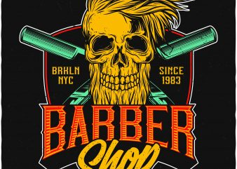 Barber Shop. Vector T-Shirt Design