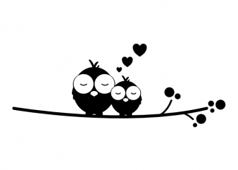 Cuddling birds couple real love valentines day vector t shirt printing design buy t shirt design