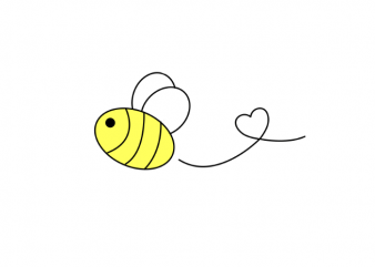 Cute bee with a heart simple tattoo t shirt printing design