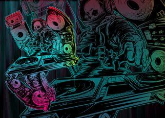 SPACE DJ t shirt template vector