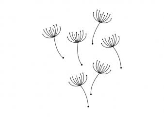 Dandelion Blowball seeds minimal tattoo vector t shirt design