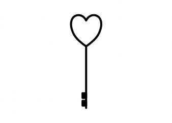 Key to the heart minimal love tattoo vector t shirt design