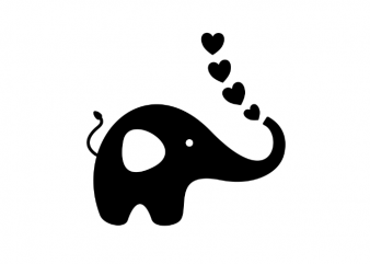 Love elephant with hearts valentines day vector t shirt printing design