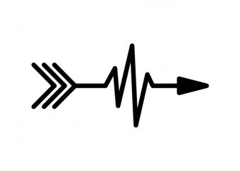 Minimal arrow with heart beat tattoo vector t shirt design buy t shirt design