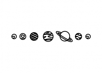 Minimal planets space and universe hand drawn vector t shirt design
