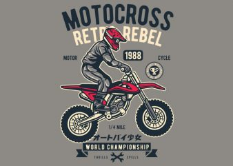 Motocross Retro Rebel t shirt designs for sale
