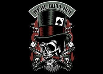 Real Outlaw Skull t shirt design online