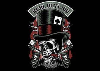 Real Outlaw Skull buy t shirt design