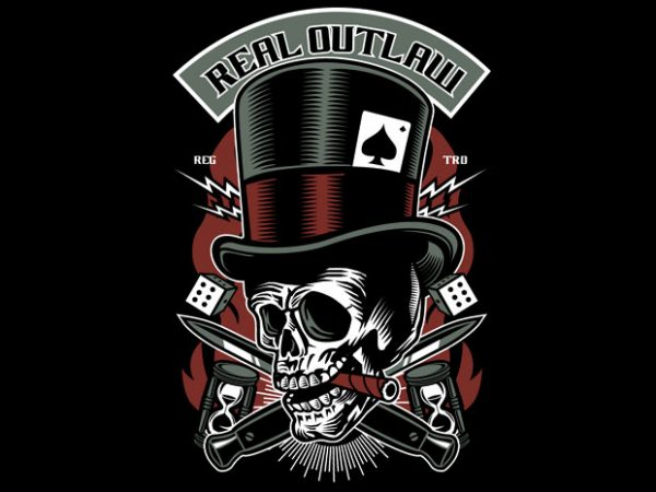 Real Outlaw Skull buy t shirt design