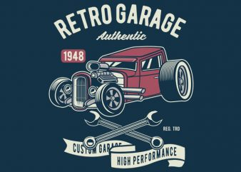 Retro Garage Hotrod buy t shirt design
