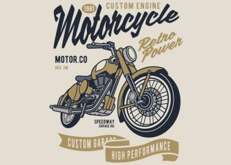 Retro Power Motorcycle t shirt design online