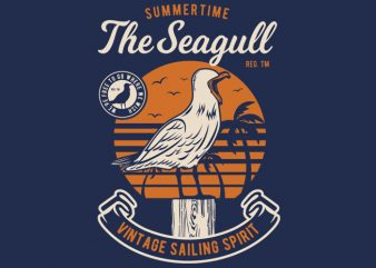Seagul Bird t shirt template vector