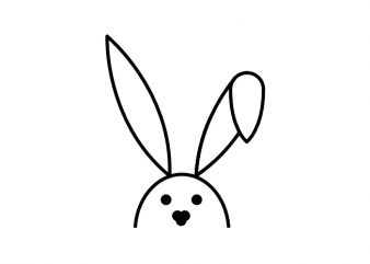 Simple bunny easter tattoo t shirt printing design for POD