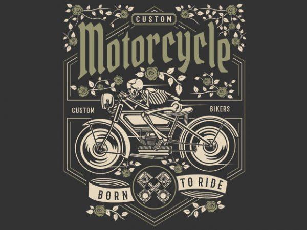 Skull Motorcycle t shirt template vector