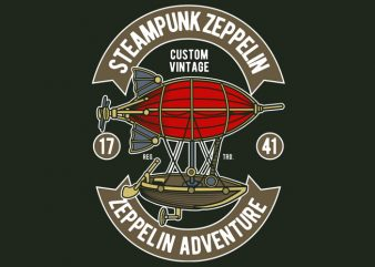 Steampunk Zeppelin t shirt template vector