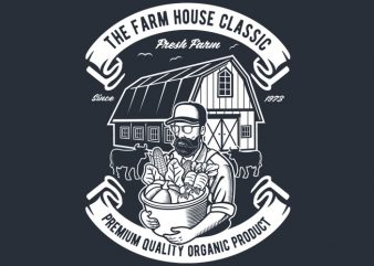 The Farm House Classic t shirt designs for sale