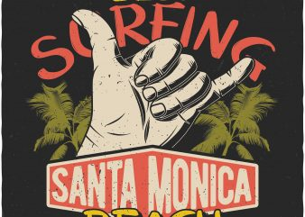 Santa Monica Beach. Vector T-Shirt Design t shirt template