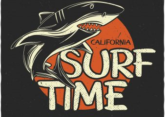 Surf time. Vector T-Shirt Design