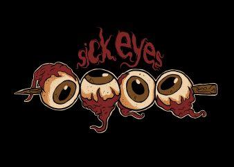 sick eyes t shirt template vector