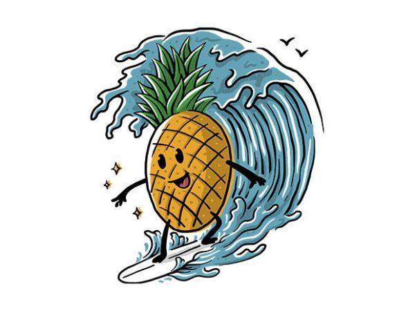 Pineapple Surfing t shirt illustration
