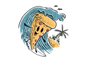 Pizza Surfing t shirt illustration