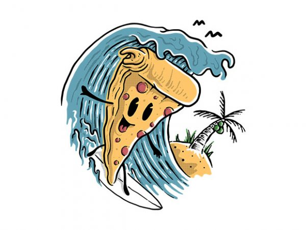 Pizza Surfing t shirt illustration