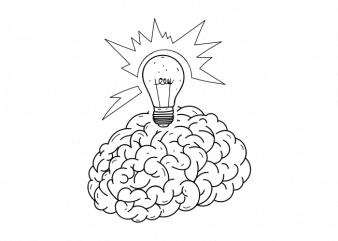 Brain idea minimal tattoo vector t shirt printing design buy t shirt design