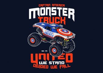 Captain America Monster Truck t shirt vector file
