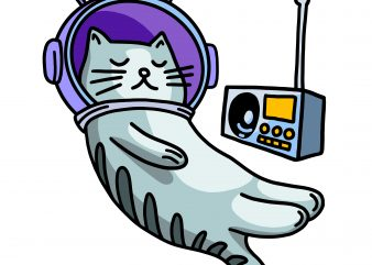 Sleeping cat in space with music. Vector t-shirt design