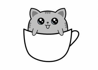 Cat sitting in a cup of coffee vector t shirt printing design buy t shirt design