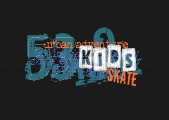 Urban Adventure 53 Kids Skate t shirt vector graphic