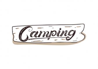 Hand drawn Camping shield outdoor shirt designs t shirt template