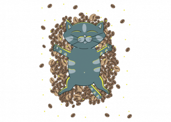 Kitten and coffee beans cute child vector t shirt printing design buy t shirt design