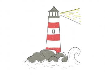 Lighthouse sailor sea minimal tattoo vector t shirt design