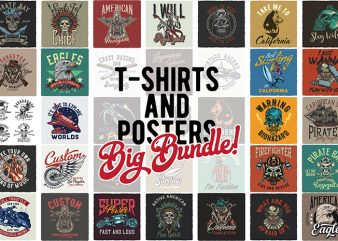 T-Shirts Bundle 1. Vector T-Shirt and Poster Designs