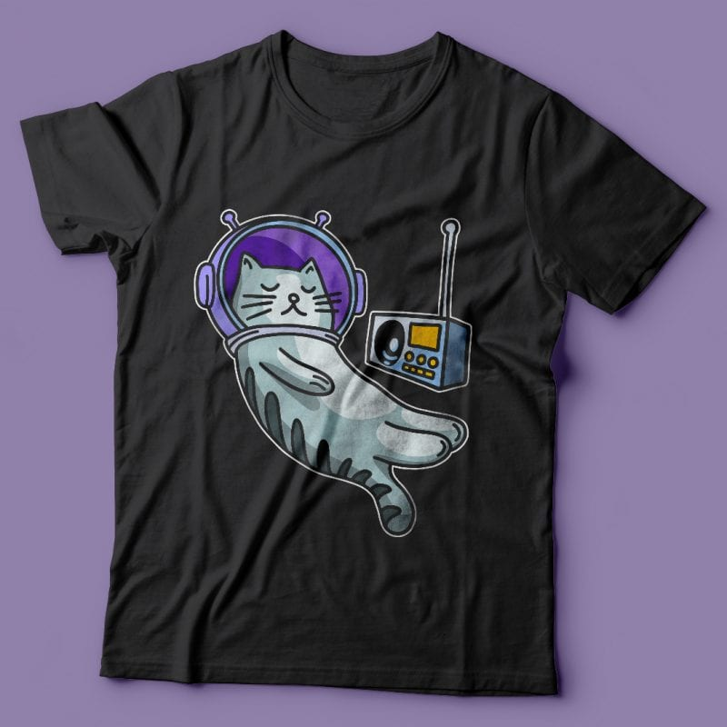 Sleeping cat in space with music. Vector t-shirt design buy t shirt design