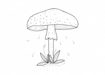 Mushroom plant botany children minimal vector graphic t shirt design buy t shirt design
