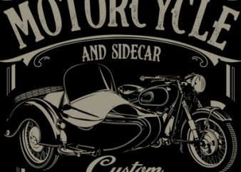 MOTORCYCLE AND SIDECAR t shirt designs for sale